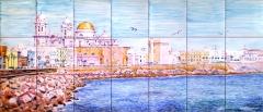 Cádiz, Campo de Sur. Mural de azulejos pintados a mano. 105x45cm.
