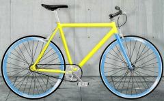 bicicleta fixie amarilla, moma bikes