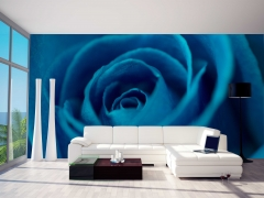Un fotomural con una original rosa azul para tu sal�n, siempre posible con estudios deco