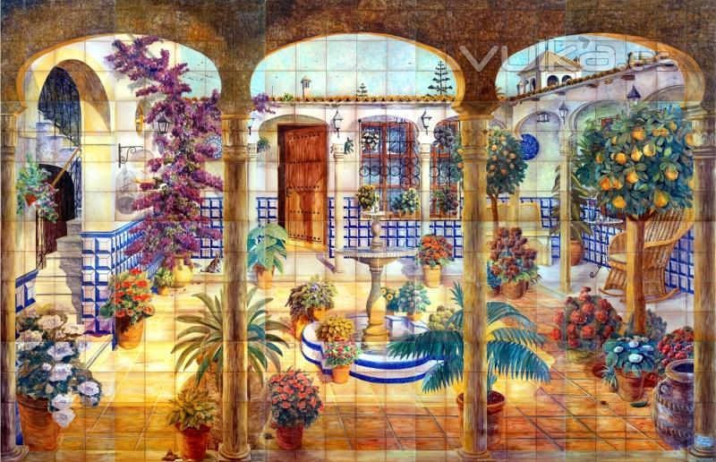 Foto patio andaluz con fuente y arcos mural de azulejos for Jardines murales
