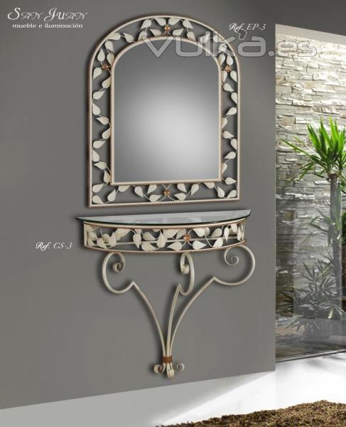 Foto consola y espejo de hierro forjado decorado con hojas for Consola con espejo para sala