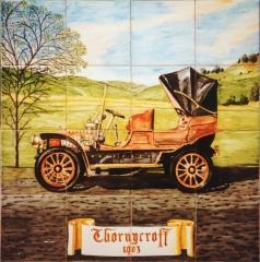 Coches antiguos: thornicroft 1903. mural de azulejos pintado a mano y cocido a 980 grados. 60x60 cm.