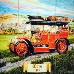 Coches antiguos: Mors 1903. Mural de azulejos pintado a mano y cocido a 980 grados.