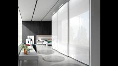 Elegante armario de puertas correderas en color blanco lacado