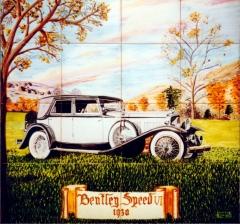 Coches antiguos: bentley speed vi 1930. mural de azulejos pintado a mano y cocido a 980 grados.