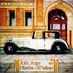 Coches antiguos: Rolls Royce Phantom II Windover 1931. Mural de azulejos pintado a mano.