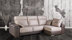 Sofa de piel combinado en 2 colores