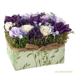 Arreglo floral coral jardinera rosas artificiales lila - la llimona home