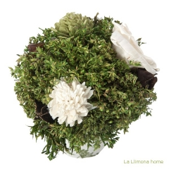 Arreglo floral natur maceta deco flores artificiales beig 14 1 - la llimona home