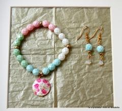 Nueva colecci�n pulsera y pendientes pink rose