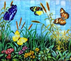Mariposas. mural de azulejos pintado a mano y cocido a 980 grados. 210x180cm.