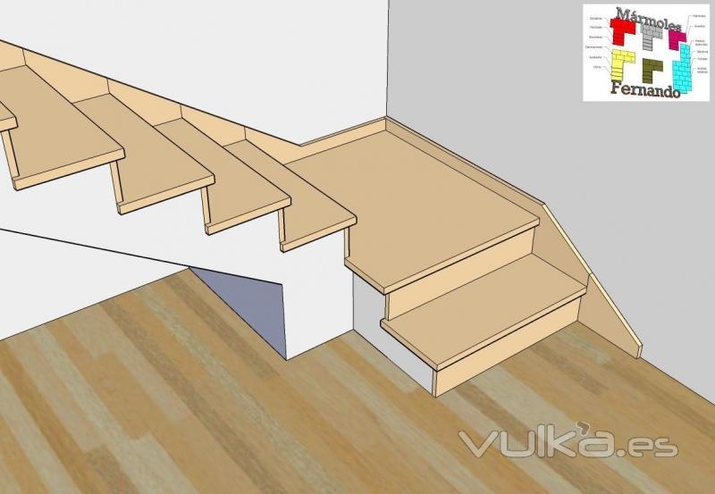 Foto escalera de un tramo con descansillo en compac for Escaleras en marmol y granito