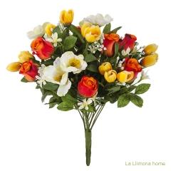 Ramo artificial flores rosas bicolores, anémonas y crocus 38 - la llimona home