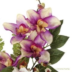 Ramo artificial flores orqu�deas cymbidium malva con hojas 49 1 - la llimona home