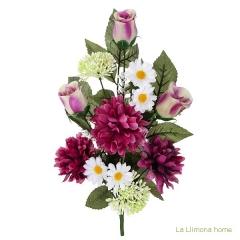 Ramo artificial flores margaritas crisantemos cereza con hojas 43 - la llimona home