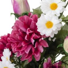 Ramo artificial flores margaritas crisantemos cereza con hojas 43 1 - la llimona home