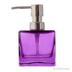 Dosificador baño glass cuadrado transparente malva - la llimona home