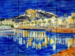 Alicante nocturno. mural de azulejos 60x45 cm. cocido a 980 grados.