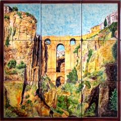 Ronda Puente Nuevo. Mural de azulejos pintados a mano.45x45 cm.