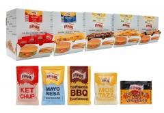 Salsas en bolsitas monodosis: ketchup, mayonesa, barbacoa, mostaza y mostaza dijon