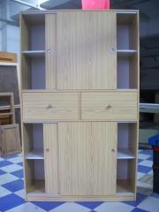 Carpinteria salmartín. armario de melamina de pino puertas correderas, cajones interior blanco