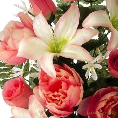 Todos los santos. ramo artificial flores peonia salm�n con lilium 60 1 - la llimona home