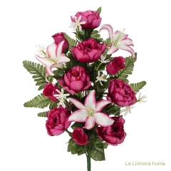 Todos los santos. ramo artificial flores peonia fucsia con lilium 60 - la llimona home