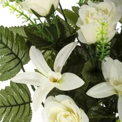 Todos los santos. ramo artificial flores orquídeas y rosas blancas con hojas 65 1 - la llimona home