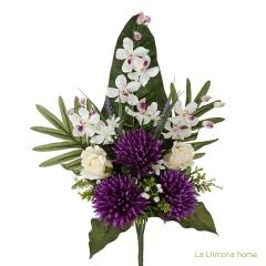 Todos los santos. ramo artificial flores crisantemos lilas con rosas beig 60 - la llimona home