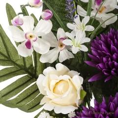 Todos los santos. ramo artificial flores crisantemos lilas con rosas beig 60 2 - la llimona home