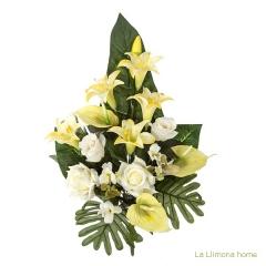 Todos los santos. ramo artificial flores anthuriums amarillos con rosas blancas 60 - la llimona home