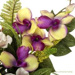 Ramo artificial flores rosas orqu�deas cymbidium malva con hojas 48 1 - la llimona home