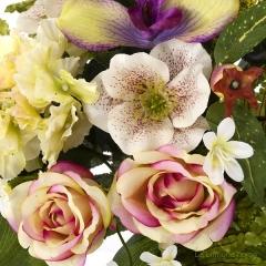 Ramo artificial flores rosas orqu�deas cymbidium malva con hojas 48 2 - la llimona home