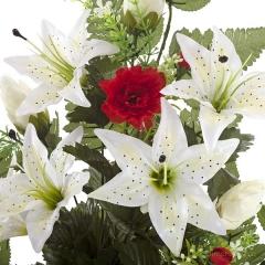 Ramo artificial flores lilium y clavellinas rojas con hojas 65 1 - la llimona home