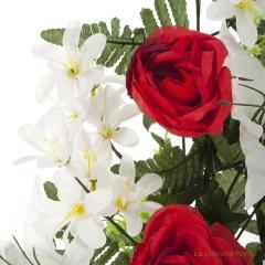 Todos los santos. ramo artificial flores camelias rojas con liliums 60 1 - la llimona home