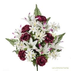 Todos los santos. ramo artificial flores camelias malvas con liliums 60 - la llimona home