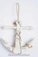 Ancla de barco n�utica en madera y cabo de c��amo para colgar decoraci�n marina