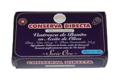 Ventresca de bonito en aceite de oliva baja en sal conserva directa 120 gr