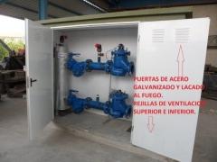 Caseta contador riego con colector para valvulas hidraulicas de 150 reductoras sostenedoras de presi