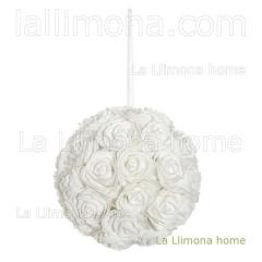 Flores artificiales. bola flores rosas artificiales blancas 23 2 - la llimona home