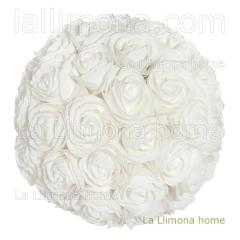 Flores artificiales. bola flores rosas artificiales blancas 30 - la llimona home