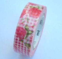 Washi tape marca mt, modelo rosas y topos
