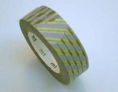 Washi tape marca mt, modelo stripe-checked green