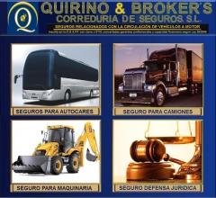 Quirino brokers -   seguros que ofertamos en esta correduría autobuses, camiones, maquinaria, def. j
