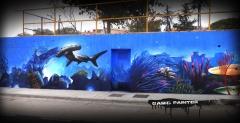 Mural con graffiti en piscina municipal de botarell (tarragona)