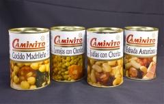 Platos precocinados: lentejas con chorizo, garbanzos con chorizo, alubias con chorizo, fabada asturi