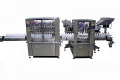 Instalaci�n compuesta por llenadora volum�trica y cerradora lineal para productos de limpieza.
