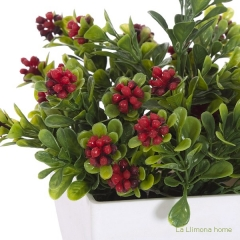 Plantas artificiales con flores. planta flores baya artificiales mini roja 20 2 - la llimona home