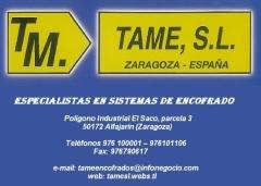 Fabricantes de encofrados TAME,S.L. Encofrados. Fabricación de sistemas de encofrado.