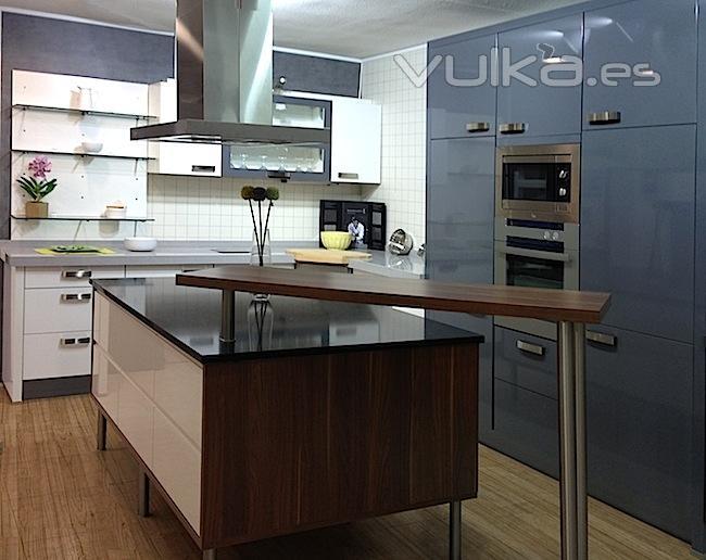 Foto mueble de cocina en coclor gris y blanco - Mueble cocina blanco ...